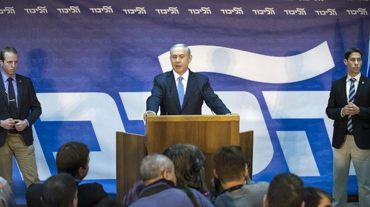 Le Premier ministre israélien Benjamin Netanyahu, après avoir gagné l'investiture du parti du Likoud, le 1er janvier 2015