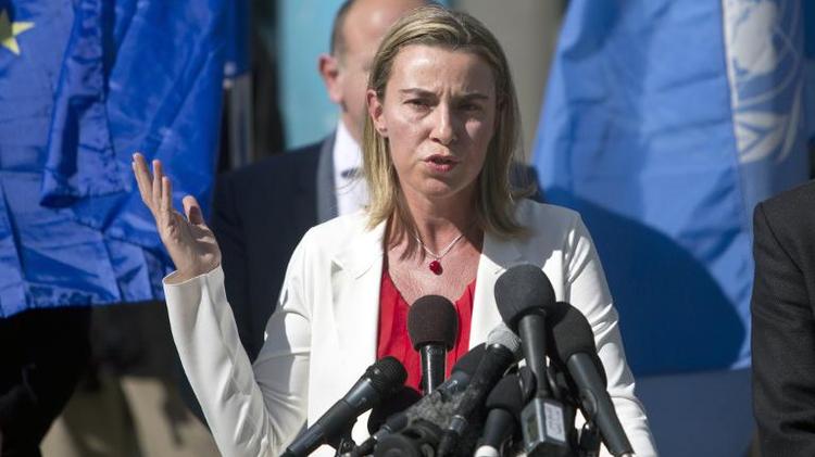 La chef de la diplomatie européenne Federica Mogherini s'exprime devant la presse à Gaza, le 8 novembre 2014