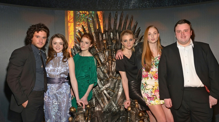 "(L-R) Actors Kit Harington, Maisie Williams, Rose Leslie, Natalie Dormer, Sophie Turner, and John Bradley attend ""Game Of Thrones"" The Exhibition on March 27, 2013 in New York City"