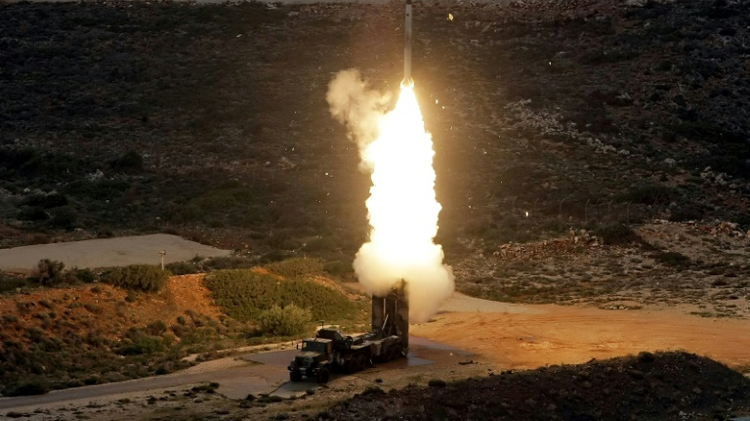 An S-300 anti-aircraft missile launches during a 2013 military exercise on the Greek island of Crete