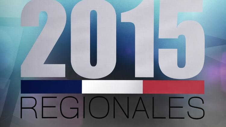 Le logo des élections régionales 2015 lors d'un débat le 2 décembre 2015 à Strasbourg pour la région Alsace-Champagne-Ardenne-Lorraine
