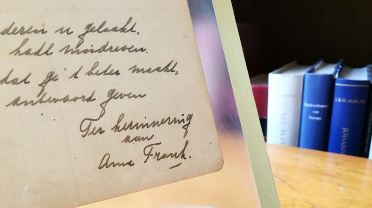 A rare handwritten poem by Anne Frank is expected to sell for more than the 30,000 euros reserve