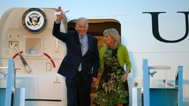 US Vice President Joe Biden and his wife Jill arrive at Israel's Ben Gurion airport on March 8, 2016