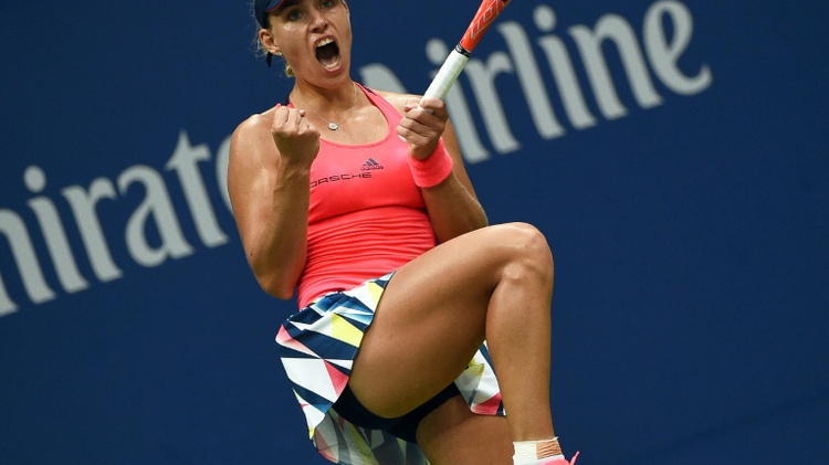 Angelique Kerber of Germany reacts winning a game against Karolina Pliskova of Czech Republic during their 2016 US Open Women's Singles final match on September 10, 2016