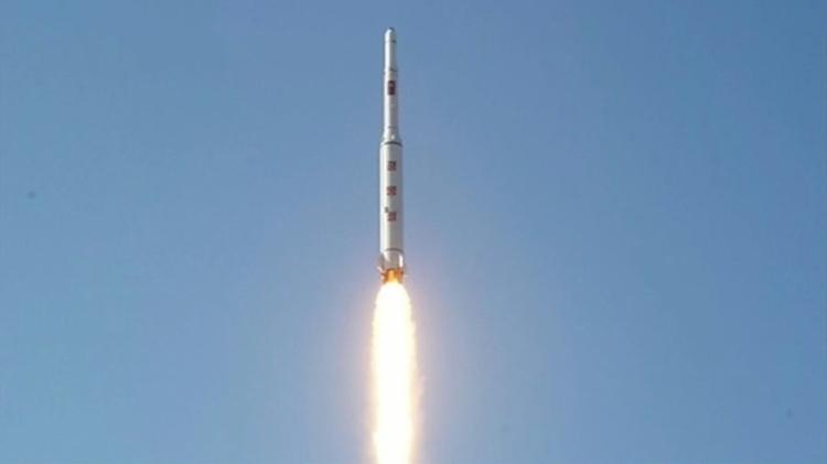 Capture d'écran de la télé nord-coréenne en 2016 montrant le lancement d'un satellite d'observation le Kwangmyong 4