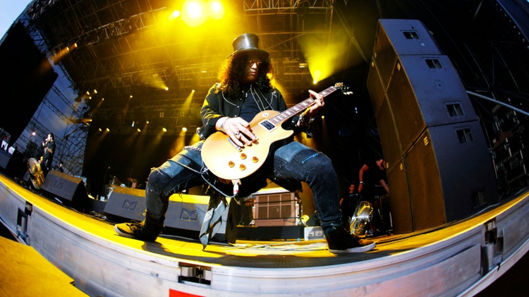 Guitarist and former lead guitarist of US band Guns N' Roses, known as 'Slash', performs during the Quart music festival in Kristiansand, Norway, in 2009