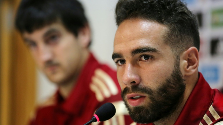 Spain's Dani Carvajal speak during a press conference at the Reino de Leon stadium in Leon, in June 2015, ahead of a friendly match against Costa Rica