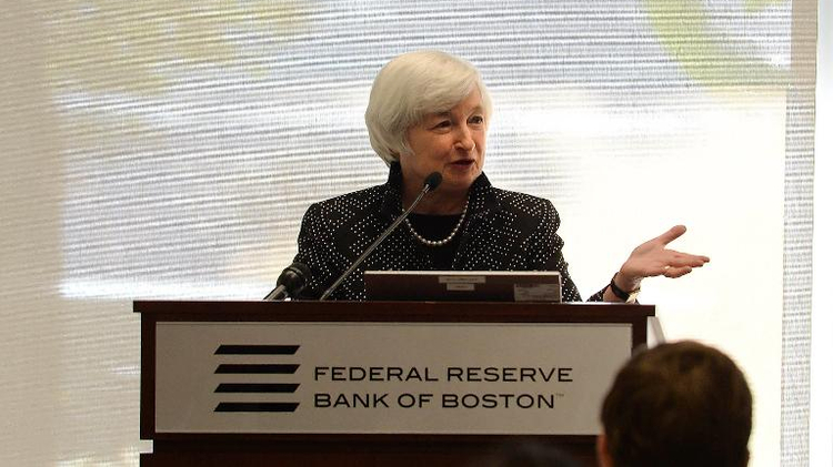 Federal Reserve Chairman Janet Yellen speaks at the Federal Reserve Bank of Boston October 17, 2014 in Boston, Massachusetts