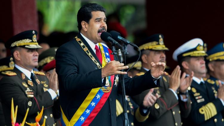 الرئيس الفنزويلي نيكولاس مادورو في خطاب عيد الاستقلال في كراكاس في 5 تموز/يوليو 2016