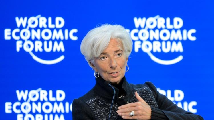 La directrice générale du FMI Christine Lagarde lors d'un débat du forum économique mondial le 23 janvier 2016 à Davos