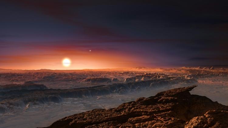 Une vue d'artiste diffusée le 24 août 2016 montre Proxima du Centaure vue depuis la surface de proxima b