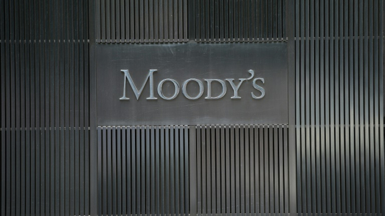 Le logo de l'agence de notation Moody's à son siège social à New York, le 18 septembre 2012