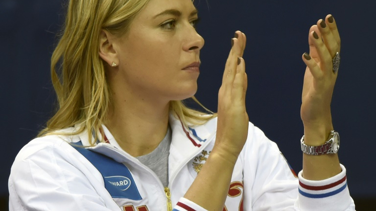 Russian Maria Sharapova after a point in the first match of Fed Cup against the Netherlands on February 6 in Moscow