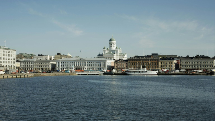 Helsinki's cathedral and market square seen from the harbour