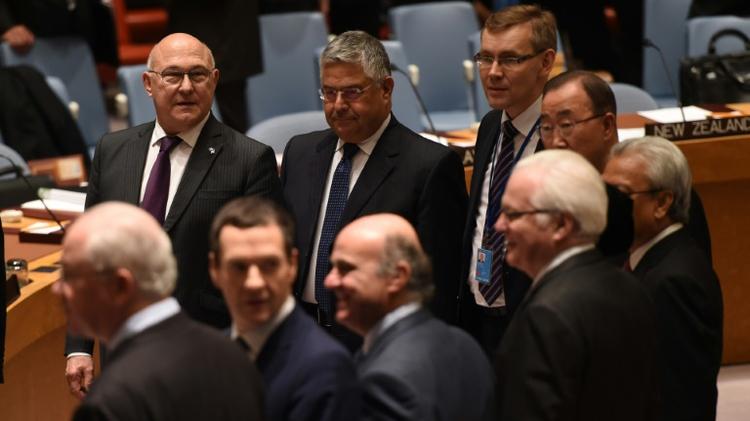 Les ministres des Finances réunis au Conseil de sécurité des Nations Uniesn le 17 décembre 2015 à New York