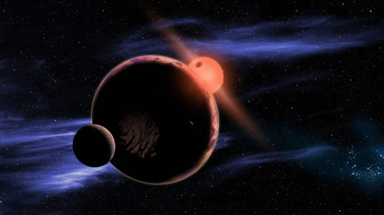 This artist's conception released February 6, 2013 courtesy of NASA shows a hypothetical planet with two moons orbiting in the habitable zone of a red dwarf star