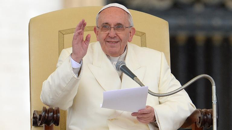 Pope Francis blesses the crowd during his general audience at St Peter's square on January 22, 2014 at the Vatican