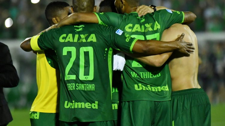 Footballers from Brazil's Chapecoense Real team, shown at a 2016 Copa Sudamericana match on November 23, 2016, have been involved in a plane crash near the Colombian city of Medellin