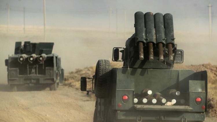 Les forces irakiennes déployées le 17 octobre 2016 dans la région d'al-Shourah à 45 km de Mossoul