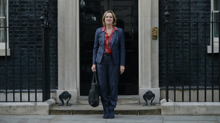 Newly appointed Home Secretary Amber Rudd leaves 10 Downing Street on July 13, 2016