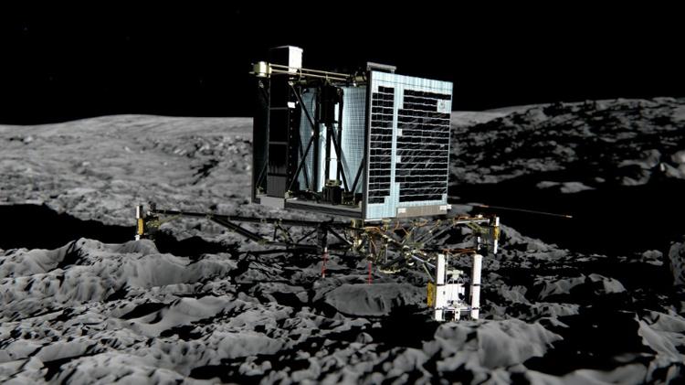"""Cette photo, diffusée par l'Agence spatiale européenne le 20 décembre 2013, montre une vue d'artiste de Philae installé sur la comète """"Tchouri"""""""