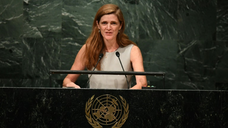 US Ambassador to the UN Samantha Power, pictured on October 13, 2016, told the General Assembly that the US would abstain from a vote calling for the end of the US embargo against Cuba