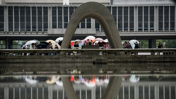Visitors at the Hiroshima Peace Memorial park, that US President Barack Obama will visit