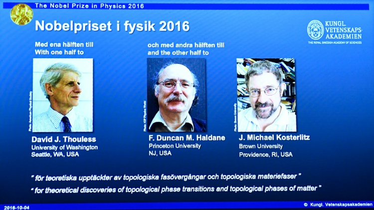 (From left) David J. Thouless, F. Duncan Haldane and J. Michael Kosterlitz announced winners of the Nobel Prize in Physics