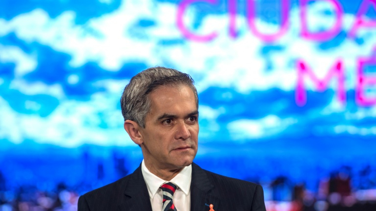 Mexico City's Mayor Miguel Angel Mancera speaks during a conference where mayors from the world's biggest cities plot their strategy for fighting climate change in the face of skepticism from US President-elect Donald Trump