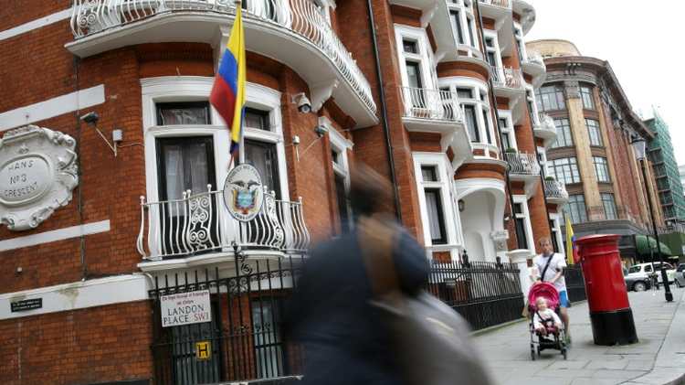 The Ecuadorian embassy in central London where WikiLeaks founder Julian Assange has lived for four years