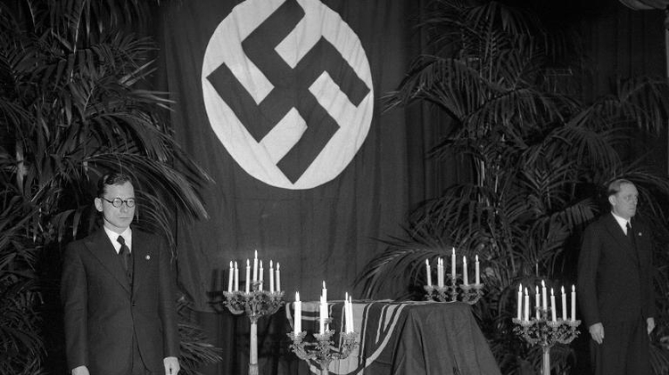 The Nazi flag-draped coffin of German diplomat Ernst Vom Rath at the German embassy in Paris during his funeral on November 12, 1938