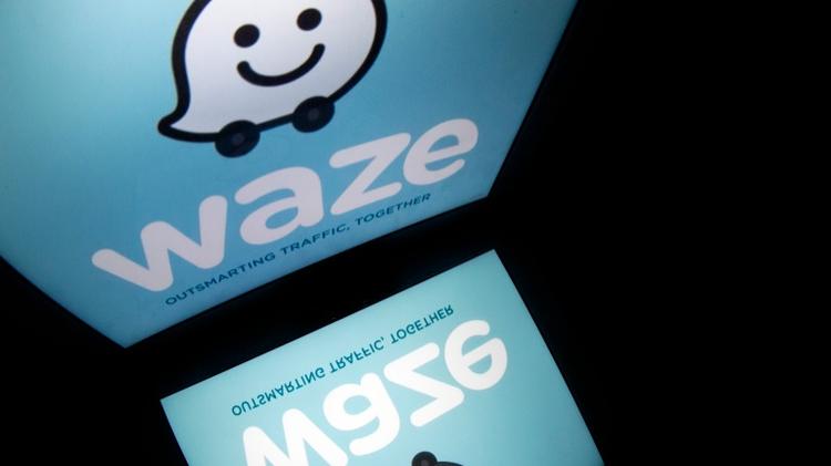 "Logo of Israeli-made navigation app ""Waze"""