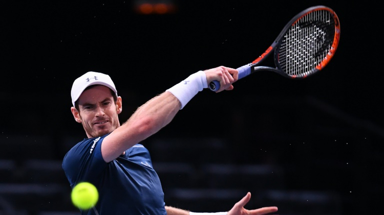 Britain's Andy Murray returns the ball to Czech Republic's Tomas Berdych during their quarter-final match at the ATP World Tour Masters 1000 indoor tournament in Paris, on November 4, 2016