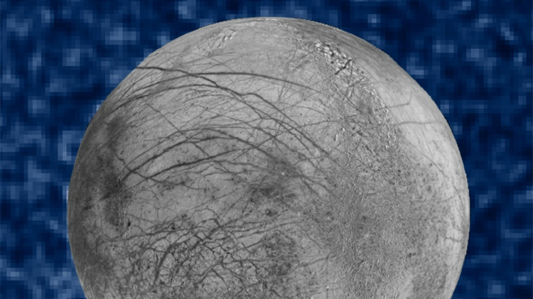 This composite image released by NASA September 26, 2016 shows suspected plumes of water vapor erupting at the 7 o'clock position off the limb of Jupiter's moon Europa