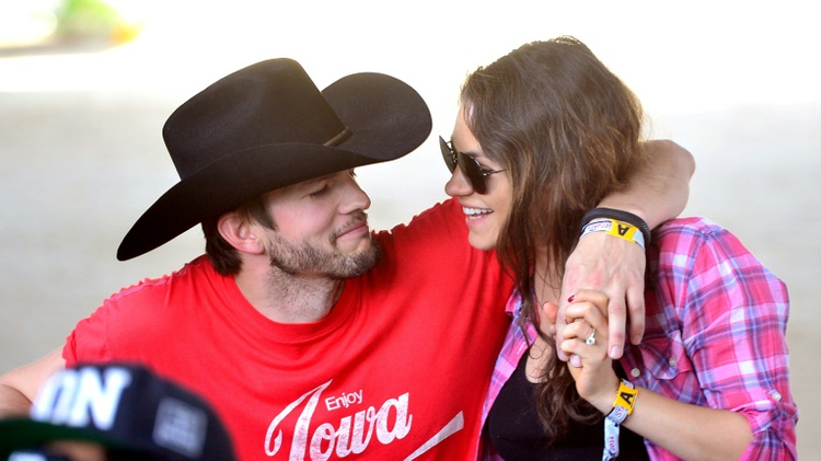 Ashton Kutcher (L) and Mila Kunis became engaged in February 2014 after a two-year relationship and married in July 2015