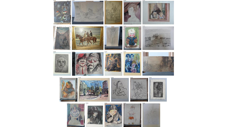 Handout photos made available on November 12, 2013 on the German Federal official website www.lostart.de shows 25 paintings believed looted during the Nazi era