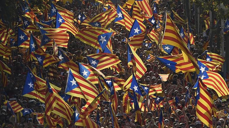 Catalans hold Catalan independence flags during celebrations of Catalonia National Day in Barcelona on September 11, 2014