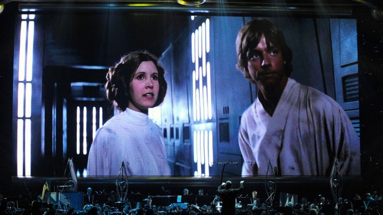 """A showing of """"Star Wars Episode IV: A New Hope"""" featuring actress Carrie Fisher and actor Mark Hamill"""