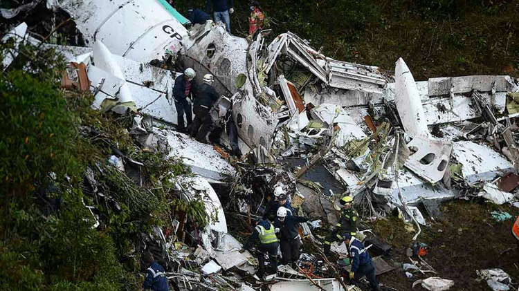 The crash site in the mountainous area of El Gordo, about 50 km from Medellin, Colombia, on November 29, 2016