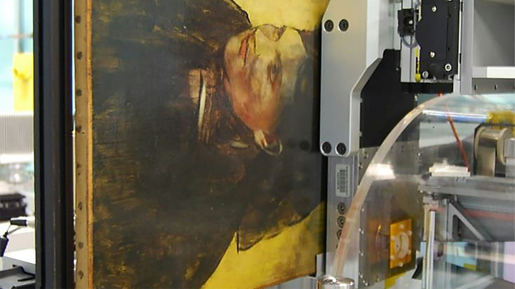 """An Edgar Degas painting """"Portrait of a Woman"""" pictured during an imaging scan by a MAIA Detector in Clayton, Australia, in an image released on August 4, 2016 by the Nature publishing group"""