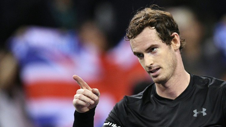 Andy Murray celebrates winning against Gilles Simon in the semi-finals at the Shanghai Masters on October 15, 2016