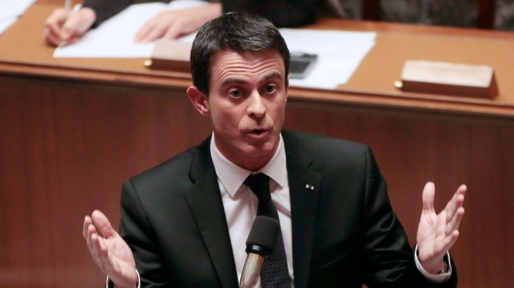 Prime Minister Manuel Valls during the debate on the deprivation of nationality in the National Assembly, February 9, 2016 in Paris