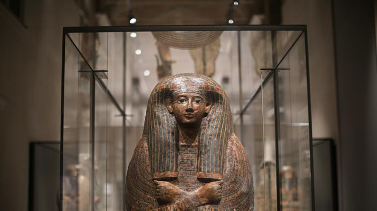 "(Illustration) An Egyptian sarcophagus is displayed on March 31, 2015 in the Egyptian Museum, the ""Museo delle Antichita Egizie"" in Turin, Italy"