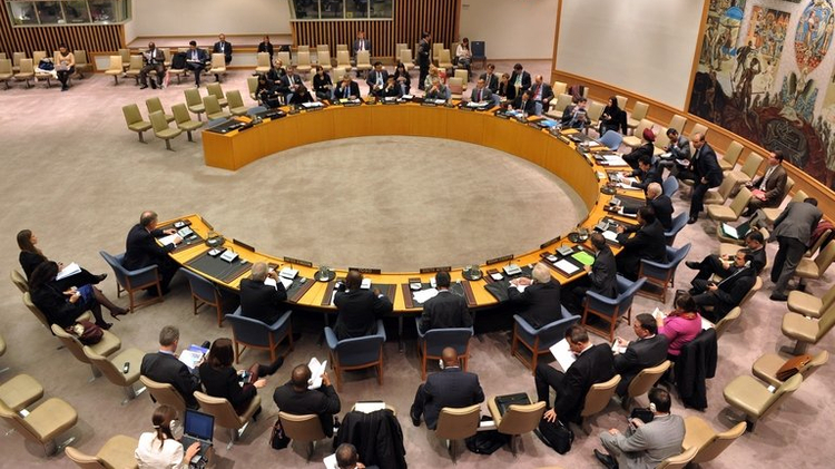The United Nations Security Council meets on November 27, 2012 at UN headquarters in New York