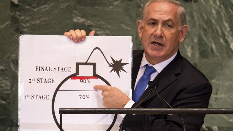 Israeli PM Benjamin Netanyahu describes Iran's alleged nuclear weapon plans at the UN in New York, on September 27, 2012
