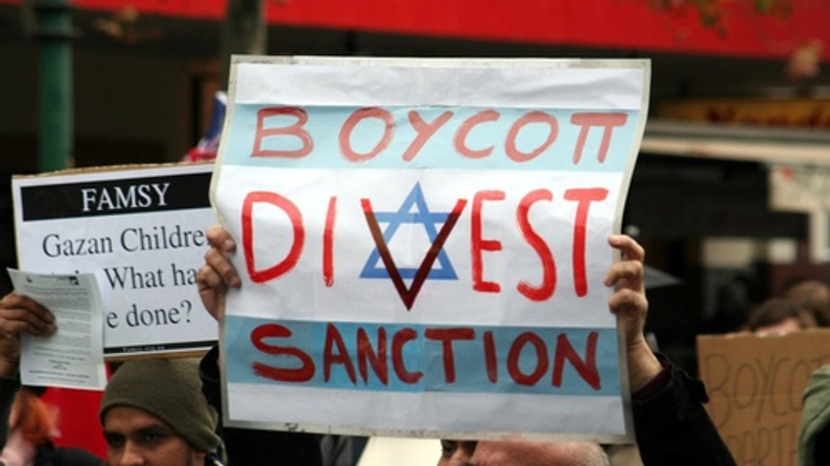 A Boycott, Divestment and Sanctions (BDS) protest against Israel in Melbourne, Australia, on June 5, 2010