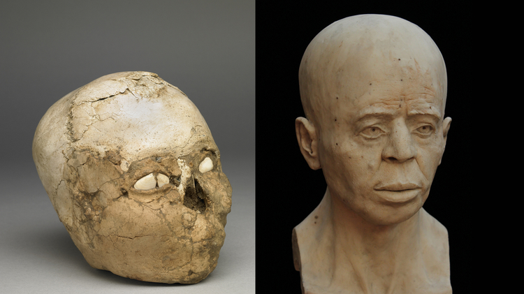 The Jericho Skull Tell es-Sultan, Jericho, Palestinian Authority Human bone, plaster, shell, soil About 8200-7500 BC,  Middle Pre-pottery Neolithic B period (Left) and the completed facial reconstruction (Right)