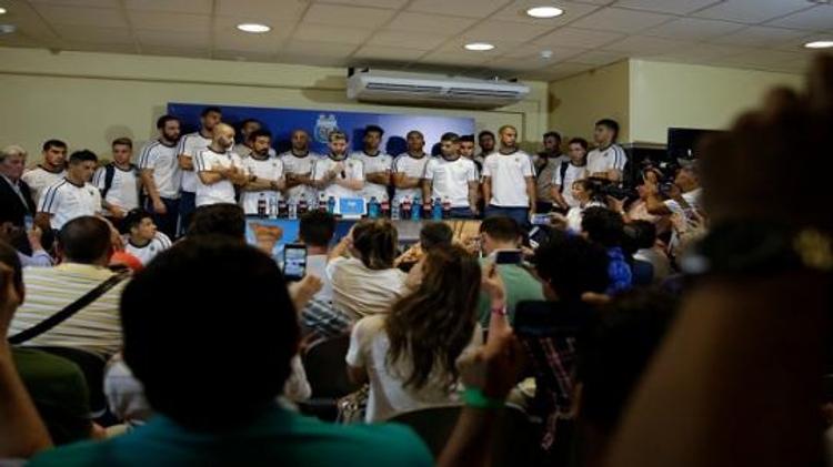 منتخب الارجنتين في قاعة المؤتمر الصحفي