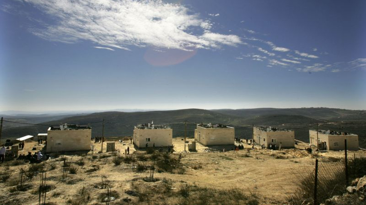 Five of the nine houses marked for destruction in 2006 in the Amona settlement in the West Bank, on January 31, 2006