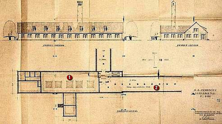 A blueprint of the Auschwitz death camp